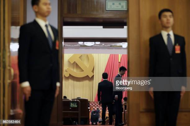 Preparations are made in the Great Hall of the People before the opening of the 19th National Congress of the Communist Party of China in Beijing,...