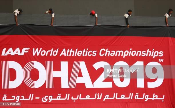 Preparations are made inside the stadium prior to the 17th IAAF World Athletics Championships Doha 2019 at Khalifa International Stadium on September...