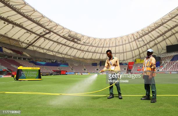 Preparations are made inside the stadium prior to the 17th IAAF World Athletics Championships Doha 2019 at Khalifa International Stadium on September...