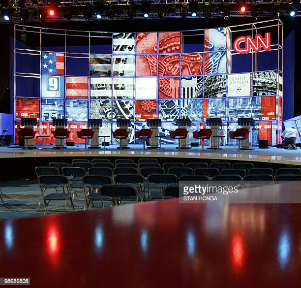 Preparations are made on the stage as preparations are made for the Democratic Presidential candidates debate 03 June 2007 at Saint Anselm College in...
