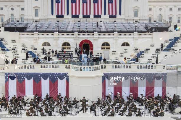 Preparations are made prior to a dress rehearsal ahead of the 59th Inaugural Ceremonies on the West Front at the U.S. Capitol on January 18, 2021 in...