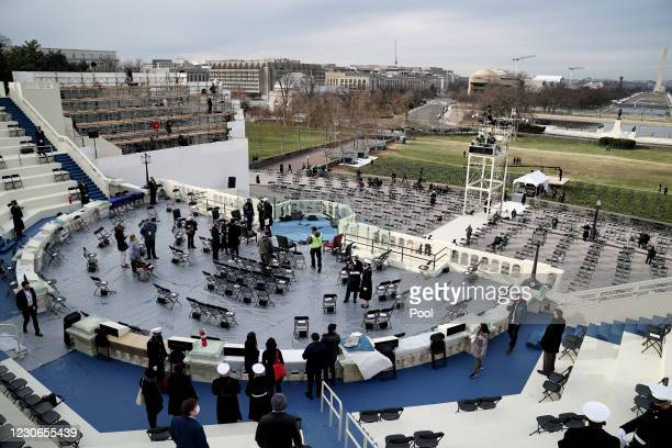 Preparations are made prior to a dress rehearsal for the 59th inaugural ceremony for President-elect Joe Biden and Vice President-elect Kamala Harris...