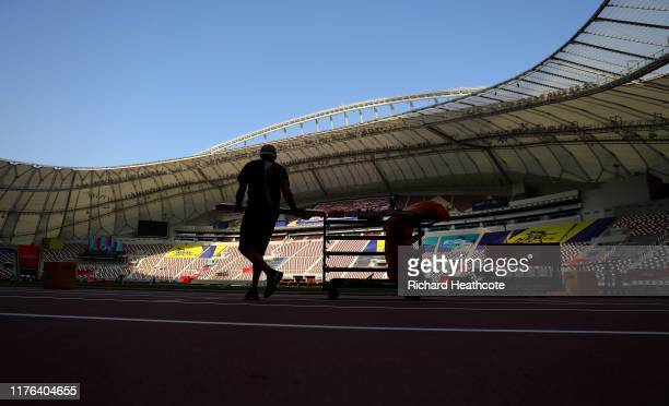 Preparations are made prior to the 17th IAAF World Athletics Championships Doha 2019 at Khalifa International Stadium on September 22, 2019 in Doha,...