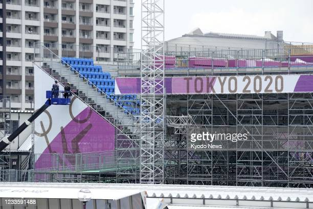 Preparations are under way at Ariake Urban Sports Park, the venue of the Tokyo Olympics cycling BMX and skateboarding events, in the Japanese capital...