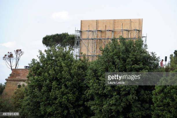 Preparations are underway at Forte Belvedere for Kim Kardashian and Kanye West's Wedding Party on May 21 2014 in Florence Italy