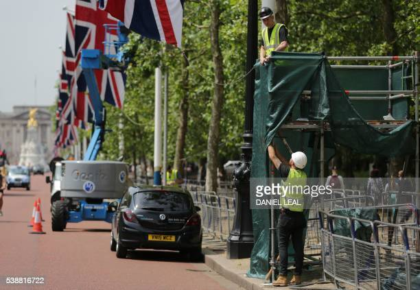Preparations are underway on The Mall in central London on June 8 as Britain prepares to celebrate the 90th birthday of Queen Elizabeth II Events are...