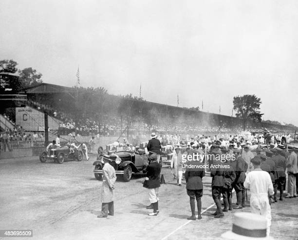 Preparations before the start of the Indianapolis 500 auto race Indianapolis Indiana May 31 1929