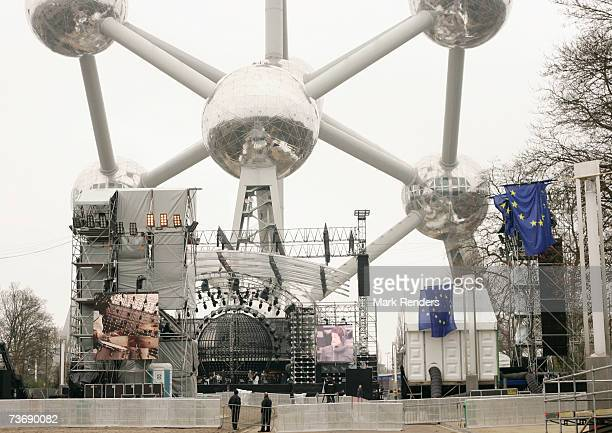 Preparations being made for the 50th anniversary of the Treaty Of Rome celebrations at the Atomium monument on March 24 2007 in Brussels Belgium