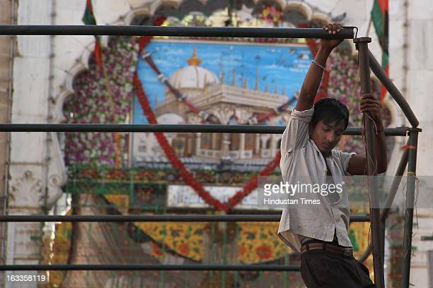 Preparations being made on the eve of Pakistan Prime Minister Raja Parvej Ashraf's visit at Sufi Saint Khawaja Moinuddin Chisti's shrine on March 8...
