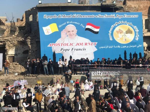 Preparations continue ahead of Pope Francis's visit at the Church square of Hosh al-Bieaa in Mosul, Iraq on March 7, 2021.