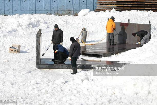 Preparations continue ahead of the Pyeongchang 2018 Winter Olympics on January 21 2018 in Pyeongchanggun South Korea