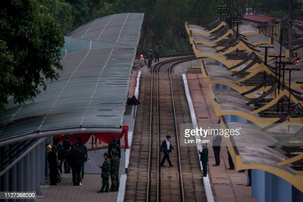 Preparations continue as security is strengthened at Dong Dang railway station ahead of North Korean leader Kim Jongun's arrival on February 25 2019...