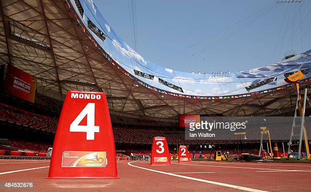 Preparations continue at the China National Stadium on August 120 2015 in Beijing ChinaThe 15th IAAF World Championships will be held in Beijing from...