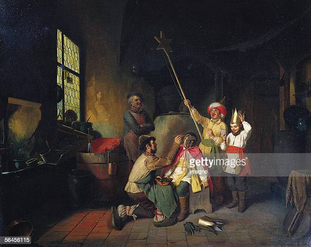 Preparations for carol singing Upper Austria oil on canvas around 1850 [Vorbereitungen zum Sternsingen Oberoesterreich Gemaelde 19 Jahrhundert]