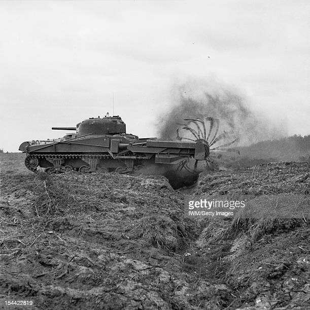 Preparations For Operation Overlord Dday 6 June 1944 Sherman Crab Mark II minesweeping flail tank one of Hobart's 'funnies' used to clear already...