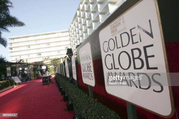 Preparations for the 63rd Annual Golden Globes are underway at the Beverly Hilton Hotel on January 15 2006 in Beverly Hills California