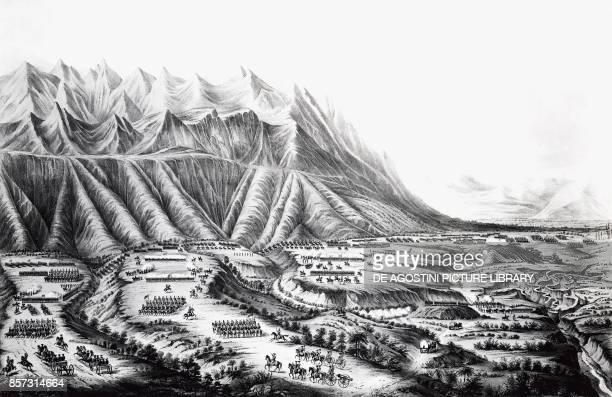 Preparations for the Battle of Buena Vista also known as the Battle of Angostura, between General Zachary Taylor and General Antonio Lopez de Santa...