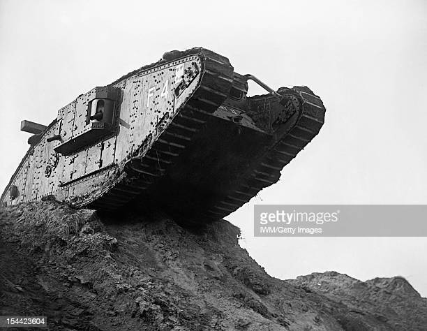 Preparations For The Battle Of Cambrai At The Tank Driving School Wailly France A view of tank F4 seen from below as it sits on top of a rise and...