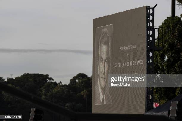 Preparations for the public memorial for Bob Hawke at The Sydney Opera House on June 14 2019 in Sydney Australia Robert James Lee Hawke AC also known...