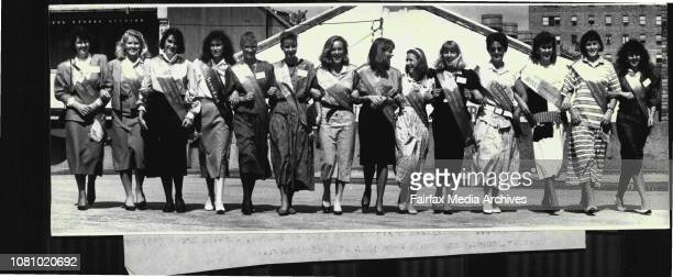 Preparations for the Royal Easter ShowMiss Show Girl entrantsPic 1 Show Girls Left to right Jenny Mauger of Moss Vale Gillian Russell of Darlington...