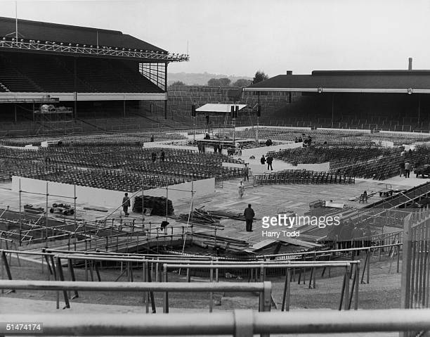 Preparations for the World Heavyweight title fight between current champion Cassius Clay and British title holder Henry Cooper at Arsenal's Highbury...