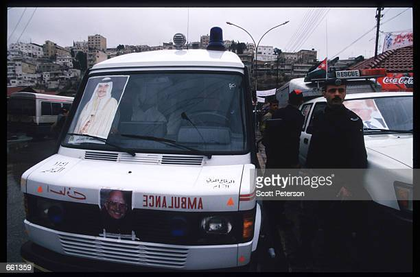Preparations with security are made to greet King Hussein January 19 1999 in Amman Jordan King Hussein returns after spending six months at the Mayo...