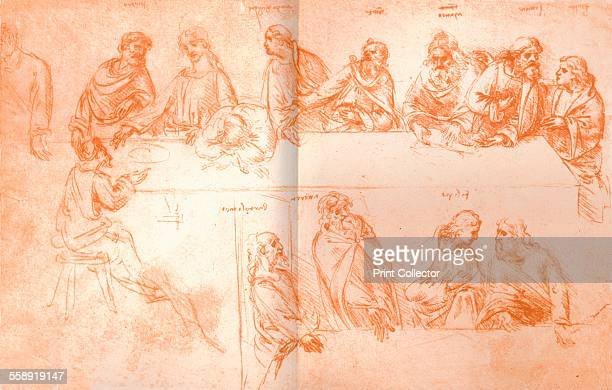 Preparatory sketch for the painting of `The Last Supper` c1494c1499 Drawn in red chalk From The Literary Works of Leonardo Da Vinci Vol 1 by Jean...