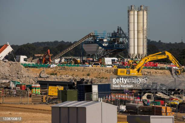 Preparatory works for the HS2 high-speed rail link at the South Portal site are pictured on 14 September 2020 in West Hyde, United Kingdom. A 17m...