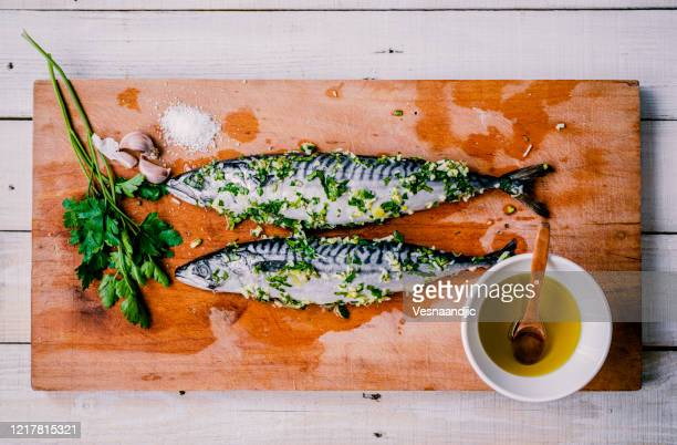 prepared fish for barbecue - fatty acid stock pictures, royalty-free photos & images