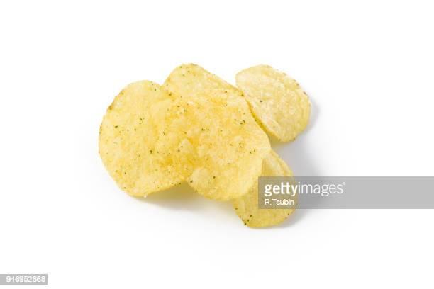 Prepared potato chips snack closeup view on white background