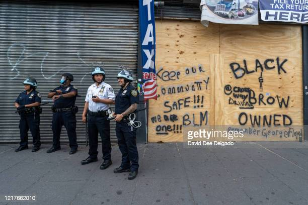 Prepares for a protest related the death of George Floyd at the hub the retail and restaurant heart of theSouth Bronx on June 4, 2020 in the Bronx...