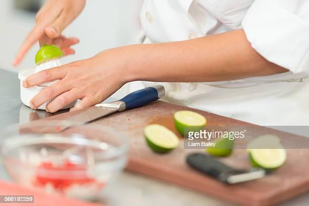 Prepariing fresh ingredients in a kitchen