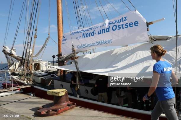 preparing a 10day sail tour through the North and Baltic Seas on board the traditional sail boat 'Ryvar' off Warnemunde Germany 15 August 2017 The...