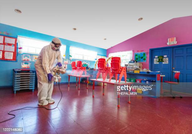 preparing a daycare facility for returning to classes - preschool building stock pictures, royalty-free photos & images