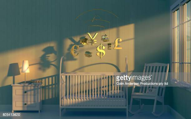 preparing a financial future - empty crib stock photos and pictures