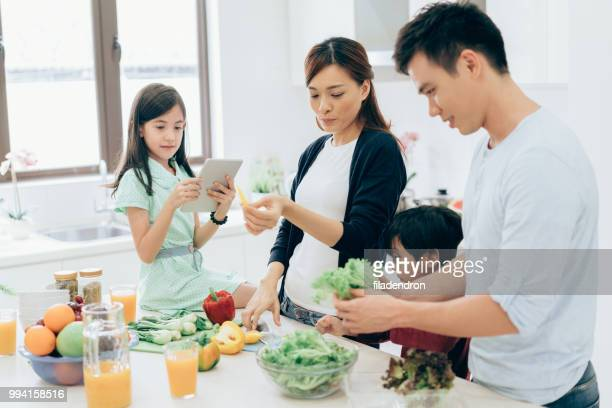 Preparing a healthy meal together