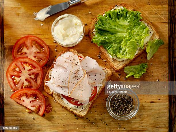preparing a turkey sandwich - mayonnaise stock pictures, royalty-free photos & images