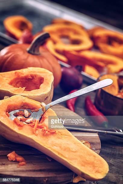 La préparation et la cuisson des potirons