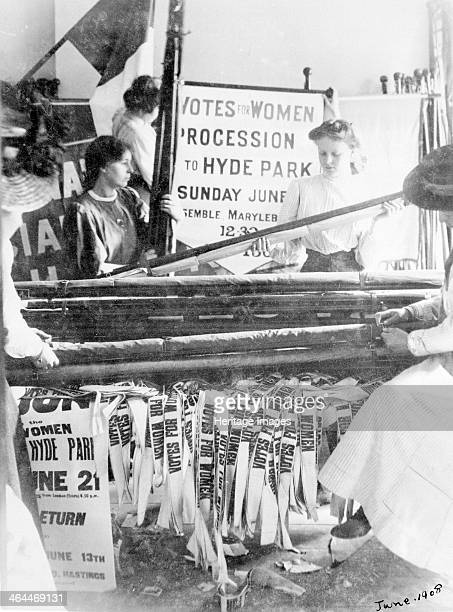 Preparing banners for Women's Sunday London 21 June 1908 The procession referred to on the banner at the back was 'Procession G' which was to...