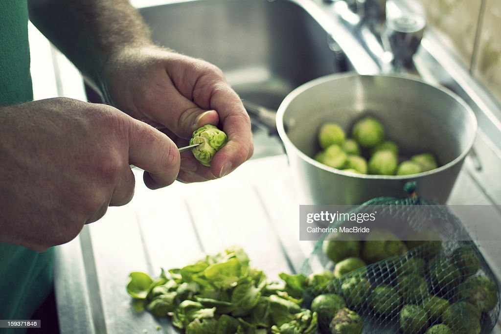 Preparing Brussels Sprouts : Stock Photo