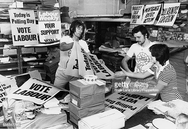 Preparing campaign posters at the Labour Party headquarters in Transport House London in the runup to the General Election 20th September 1974 It was...
