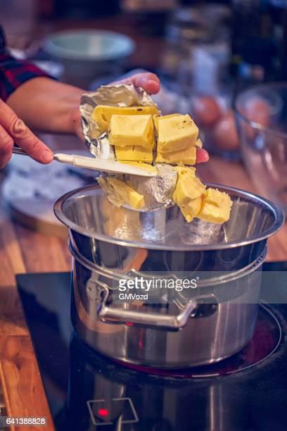 Preparing Chocolate Cake Batter for Brownies