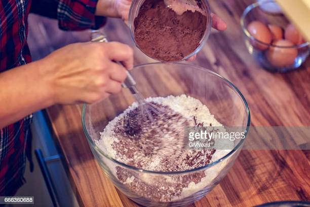 Preparing Chocolate Cake Batter