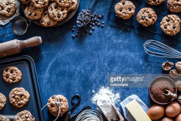 preparing chocolate chip cookies - baked stock pictures, royalty-free photos & images