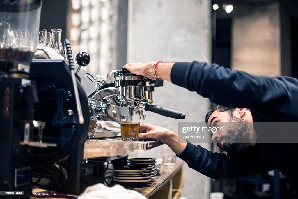 Preparing coffee for the client : Stock Photo