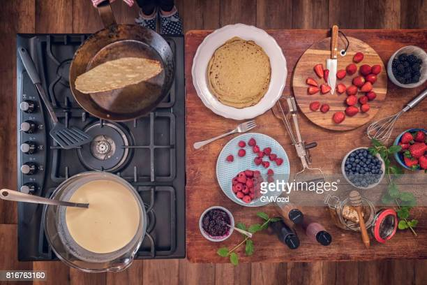 Preparing Crepes with Fresh Berries