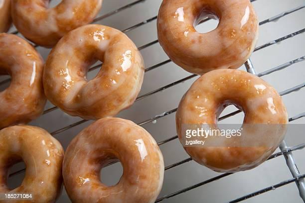 Preparing donuts in a bakery
