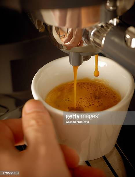 preparing espresso coffee