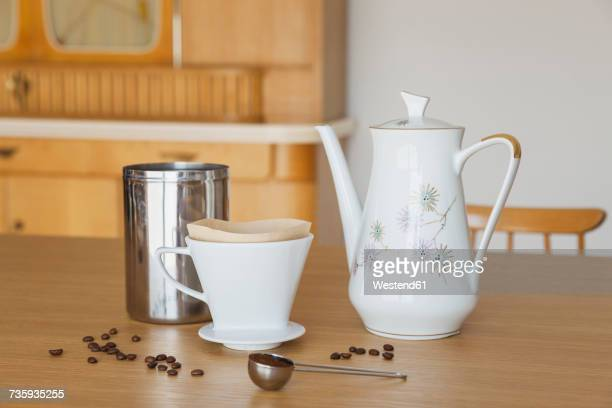 preparing filter coffee - ground coffee stock photos and pictures