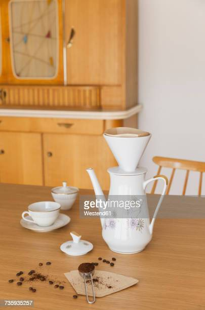 preparing filter coffee - sugar bowl crockery stock photos and pictures